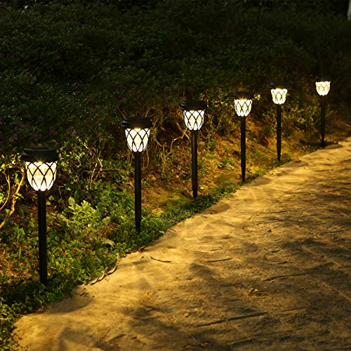 Tomshin-e Solar Garden Lights Outdoor Pathway Light Solar Powered Waterproof Stake Lights Outside Ornaments for Patio Lawn Yard Ground Backyard Courtyard Dusk to Dawn Auto On/Off,6 Pack