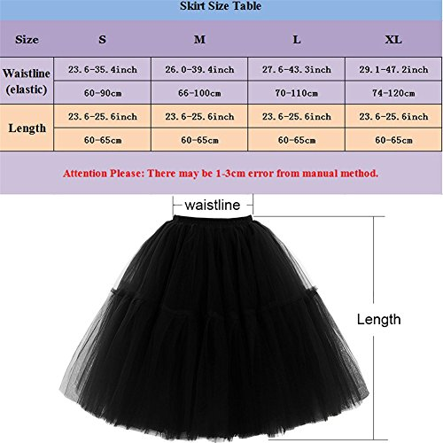Omela Tüllrock Damen Vintage Tutu Rock Tanzrock Unterrock Petticoat Prinzessin Rock (Schwarz,66-100) - 3