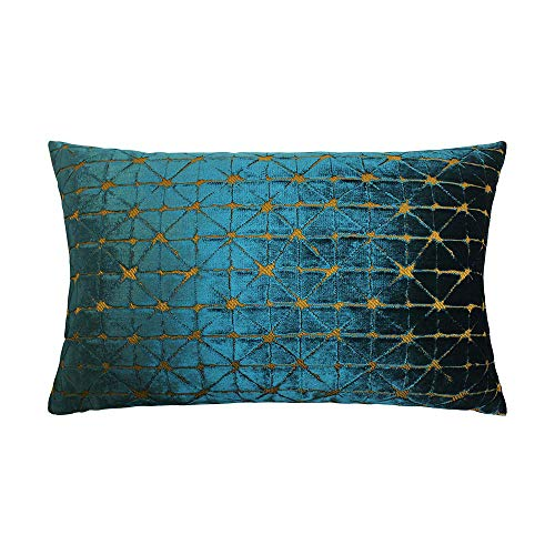 Scatter Box Jasper Velour Feather Filled Cushion, Teal/Gold, 35 x 50 Cm