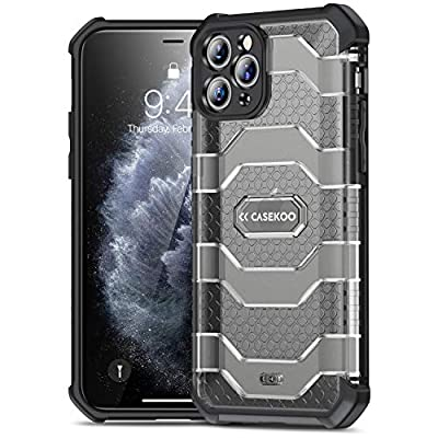 CASEKOO Defense Armor iPhone 11 Pro Max Case, [Military Grade Drop Tested] Matte Hard PC Back Protective Cover with Shockproof TPU, Heavy Duty Case for iPhone 11 Pro Max - 6.5'' (Translucent Black)