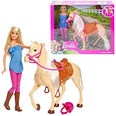 Barbie Doll, Blonde, Wearing Riding Outfit with Helmet, and Light Brown Horse with Soft White Mane and Tail, Gift for 3 to 7 Year Olds????
