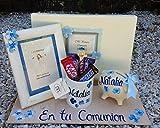 Regalo de comunion niña con Album Primera Comunión,libro de firmas modelo Soraya, un marco 18x13, un cerdito hucha, una taza y y todo personalizado
