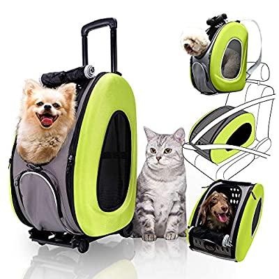 4 in 1 Pet Carrier + Backpack + CarSeat + Carriers on Wheels for Dogs and Cats (Green)