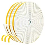 White Weather Stripping 50 Feet, 1/4 Inch Wide X 1/8 Inch Thick, Window Seal High Density Foam Sealing Strip Adhesive Foam Gasket Tape for Door Insulation, 16.5 Ft x 3 Rolls