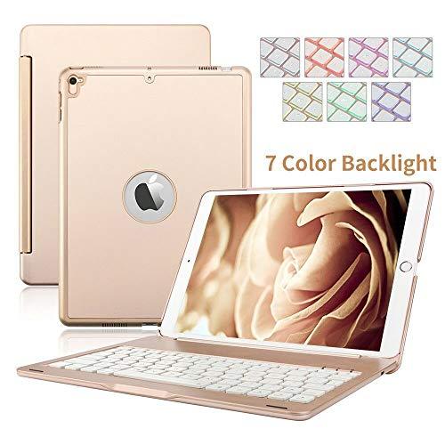 iPad 9.7 2017/2018 Funda de Teclado, Aluminio Dingrich Funda Bluetooth inalámbrico 7 LED retroiluminado Funda Teclado+ Protector de Pantalla + Lápiz óptico,para Apple iPad 9.7 2017/2018