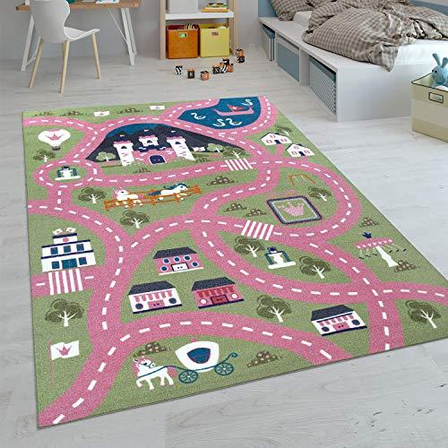 Paco Home Kinder-Teppiche, Kurzflor-Teppiche für Kinderzimmer mit vers. Designs Spielteppiche Bunt, Grösse:80x150 cm, Farbe:Pink