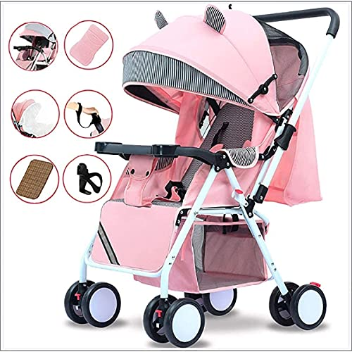 Cochecito de bebé, buggy, cochecito liviano para bebés sentarse reclinar el carro de bebé con bandeja de comida, mosquitera, banda de muñeca para el sistema de viaje prematuro recién nacido, rosa