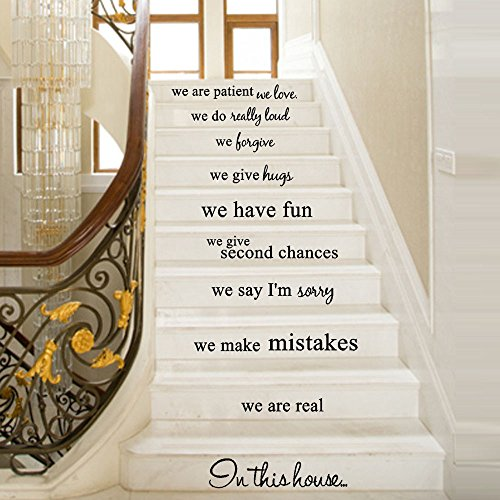 Wall Stickers Stair Decoration Art Design DIY Self-Adhesive Removable Wallpaper 3D Vinyl Sticker Decal for Home Living Room Bedroom Bathroom Kitchen Decor Mural Quotes Fashion Wall Amaone (B)
