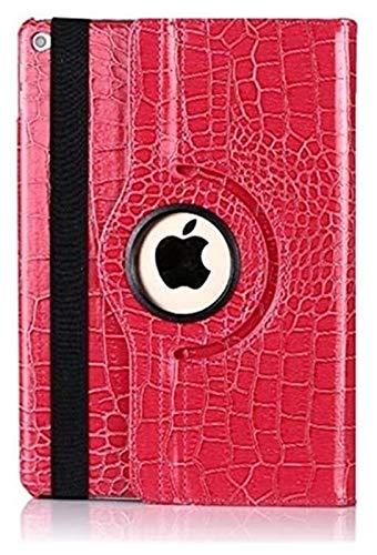 ZRH Accesorios De Pestañas para iPad 10.2, 360 Funda De Cuero De Cocodrilo Giratorio Funda Inteligente para iPad Air 1/2 9.7 (Color : Rose Red, Size : 10.2 2019)