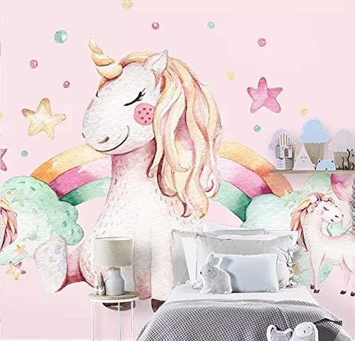Fotobehang van vliesbehang, 3D-behang, voor kinderen van papier, wekker, eenhoorn, slaapkamer, warm, voor meisjes 3D-papier, vliesbehang, 120 x 100 cm 200 * 140
