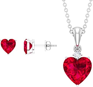 8 MM Heart Shape Lab Created Ruby Pendant, 2 MM HI-SI Round Diamond Pendant, Pendant Set with Earrings Gold (AAAA Quality)