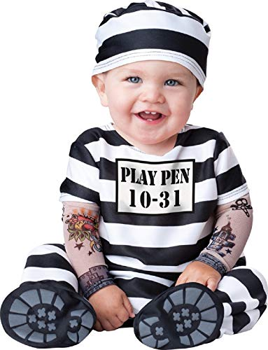 Fancy Me Deluxe Baby Jungen Mädchen Time Out Sträfling Gefangener Charakter Halloween Kostüm Kleid Outfit - Schwarz/weiß, 0-6 Months, Schwarz/weiß