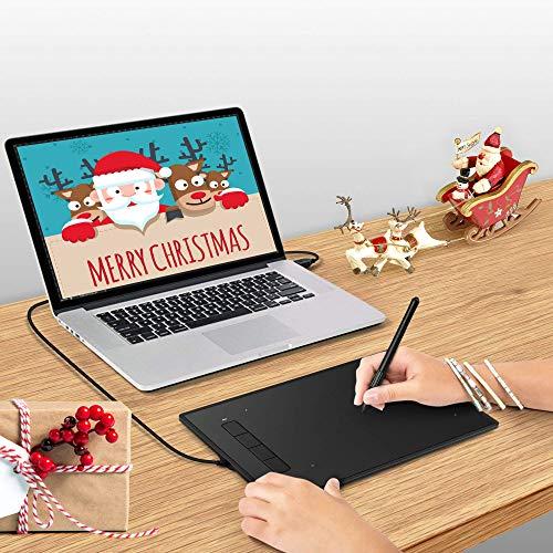 INTEY Grafiktablett mit Digital-Stift/Smart Zeichentablett Stylus 9 x 6 mit 4 Tasten Grafik Tablets ohne Batterie Und USB Aufladen erforderlich für Mac Und PC (Geschenk für 5 x Stift Nibs)