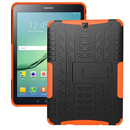 LMFULM Case for Samsung Galaxy Tab S2 / SM-T810 / T815 / T813 (9.7 Inch) PU 3 in 1 Hybrid Heavy Duty Shockproof Light Weight Anti Slip Soft Silicone Back Cover for Galaxy Tab S2 Orange