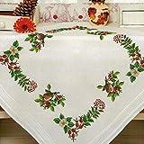 Kamaca Kit de broderie au point de croix, nappe en coton avec modèle préimprimé, motifs:rouges-gorges dans le jardin (surnappe de 80x80cm)