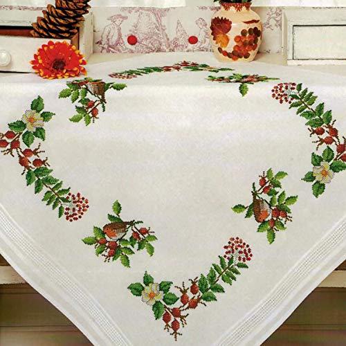 Kamaca Stickpackung Tischdecke ROTKEHLCHEN IM Garten Kreuzstich vorgezeichnet aus Baumwolle Stickset mit Stickvorlage (Mitteldecke 80x80 cm)