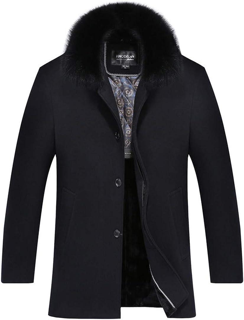 Zichhing Wool Blend Coats Men Wool Coat Fur Collar Solid Wool Overcoat