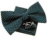 Retreez - Pajarita pequeña, de lunares, preanudada, 12 cm, con pañuelo cuadrado de bolsillo y...