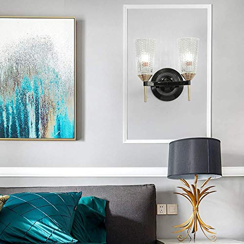 Wall lamp Wandleuchter im amerikanischen ländlichen Retro-Stil, goldfarben, schwarz, Metall, Wandleuchte, Veranda, Treppe, Balkon, Glas, Lampenschirm, Wandwaschleuchten (Größe: Doppelkopf)