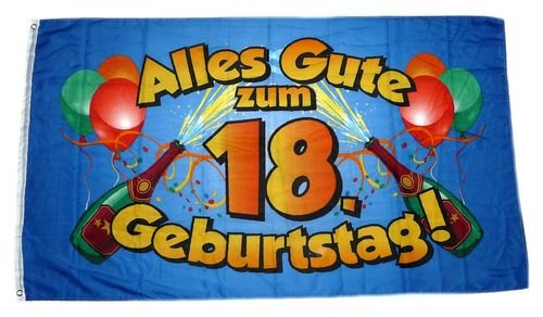 Fahne / Flagge Alles Gute zum 18. Geburtstag 90 x 150 cm