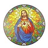 Sagrado Corazón de Jesús Atrapasol Vidriera Pegatina Reutilizable 6 Pulgadas Colector Sol