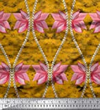 Soimoi Gold Kunstseide Stoff Blumen & Ogee Damast gedruckt