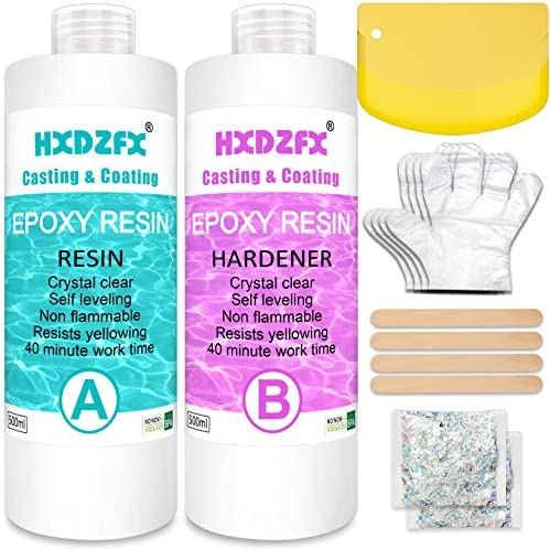 Epoxy Resin Clear Crystal Coating Kit 1000ml/38.4oz - 2 Part Casting Resin for Art, Craft, Jewelry Making, River Tables, Gloves, Measuring Cup and Wooden Sticks