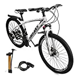VIPIH Mens Mountain Bike 27.5-Inch Wheels, Aluminum Frame, 21 Speed Thumb Shifter, Front Suspension, Dual Disc Brakes Women Adult Bicycles Black-White w/mudguards, Bike Lock, Air Pump