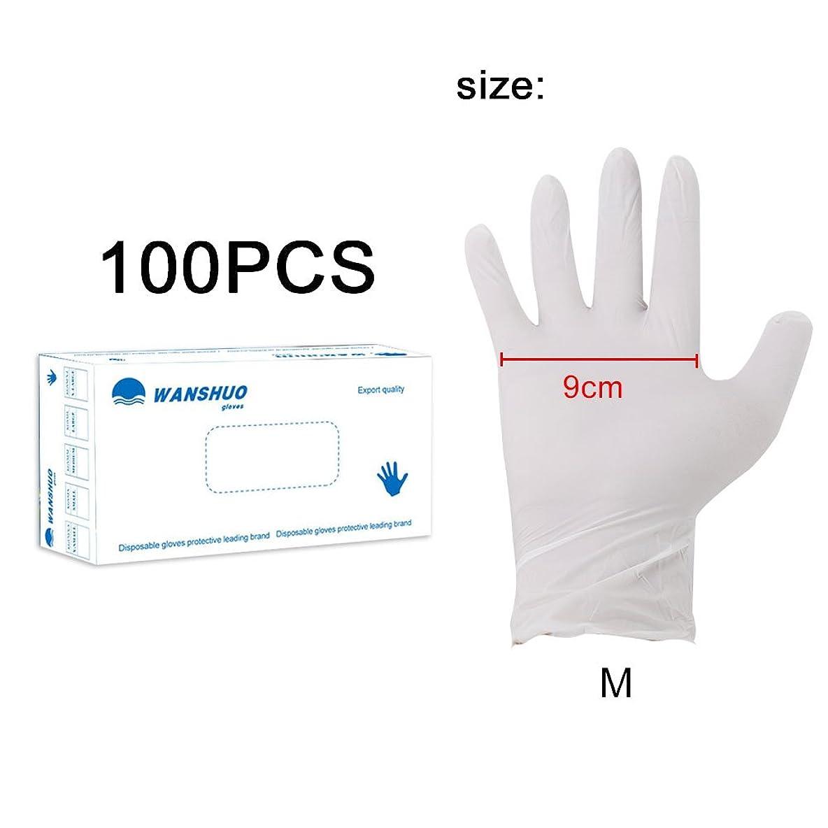 パース慎重に帝国使い捨て手袋 ニトリルグローブ ホワイト 粉なし 化学保護/酸/アルカリ/耐油性/防水 S/M/L選択可 100枚 左右兼用 作業手袋(M)
