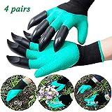 Yqz Guanti da Giardino con Artigli,Garden Genie Gloves Guanti Giardinaggio Antispine con Artigli (4 Pairs)