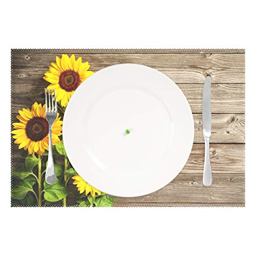 Wamika Beautiful Sunflowers Placemats Set of 4 Wood Board Florals Table Mats Spring Summer Autunm Place Mats for Kitchen Dining Decor Heat Resistant Non-Slip Washable 12 X 18 in