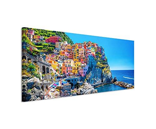 Paul Sinus Art Panoramabild 150x50cm Landschaftsfotografie – Farbenfroher Hafen, Cinque Terre, Italien auf Leinwand Exklusives Wandbild Moderne Fotografie für ihre Wand in vielen Größen