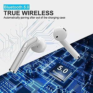 Wireless Earbuds IPX7 Waterproof, [Upgraded] Bluetooth 5.0 HiFi Bass Stereo in-Ear Wireless Headphones, Noise Cancelling Headset with Charging Case, Mini Sweatproof Car Earbuds w/Mic Single/Twin Mode