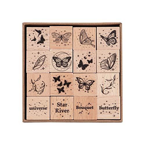RisyPisy 16 Stück Vintage Holzstempel, Schmetterling & Flügel Dekoratives Stempelset, Holzstempel für Heimwerker, Kartenherstellung, Aufzählungszeichen, Kalender, Fotoalbum, Journal