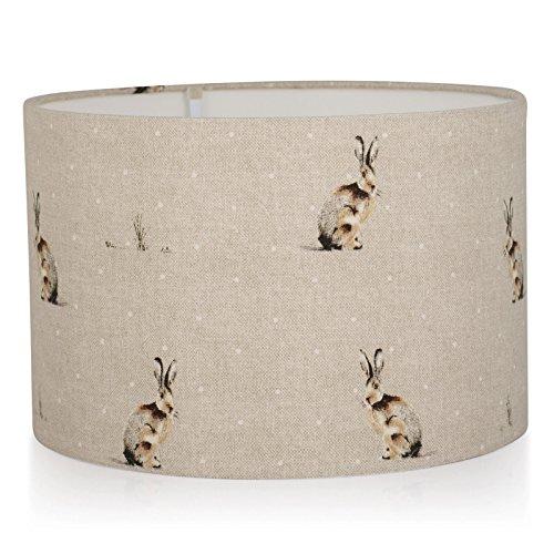 Fait à la main 40,6 cm (40 cm) Fryetts Tissu Naturel Hartley lièvre en lin Fond plafond Abat-jour uniquement, tissu, crème