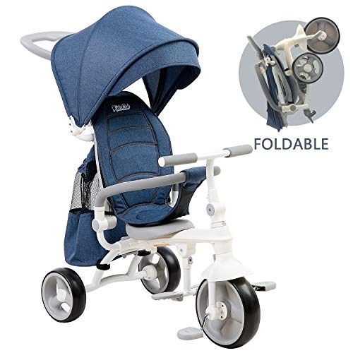 kidsclub Kids Trike, 4-in-1 Baby Tricycle, Foldable Steer Stroller, Learning Trike Push Trike with Adjustable Push Handle, Folding Pedal, Detachable Guardrail, Fit for Kids of 9-60 Months (Blue)