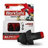 Alpine WorkSafe Bouchons d'oreille Protection auditive pour Bricolage & Travail - Boules Quies de Travail - Cordon de sécurité - Facile à enlever - Matériel hypoallergénique - réutilisables