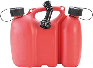 hünersdorff PROFI Doppelkanister / Kombikanister für Kraftstoff und Öl mit Kindersicherung und Auslaufrohr, 3 + 1,5 Liter, rot, UN Zulassung, Made in Germany