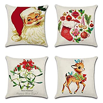Korlon 4 Pcs Christmas Pillow Covers 18x18 Inch Farmhouse Decorative Pillow Covers for Christmas Decor Holiday Pillow Covers