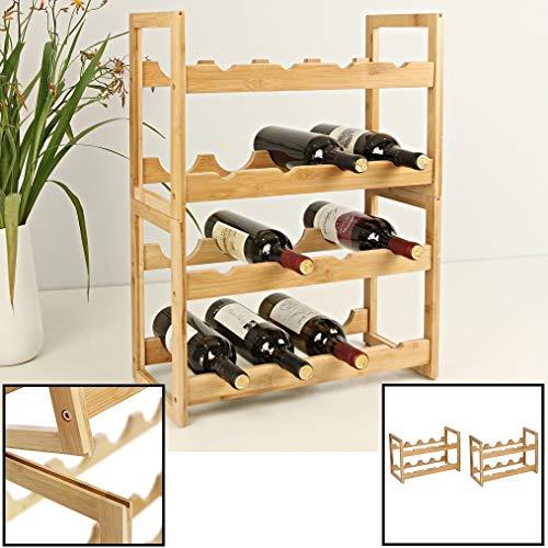Wijnrek van bamboe hout voor 16 flessen wijn - Staand en stapelbaar wijnrek - Mooi wijnflessenrek voor in kast of kamer - Decopatent (2 DOZEN)