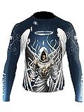 Raven Fightwear Men's Archangel Michael Rash Guard MMA BJJ Blue 2X-Large