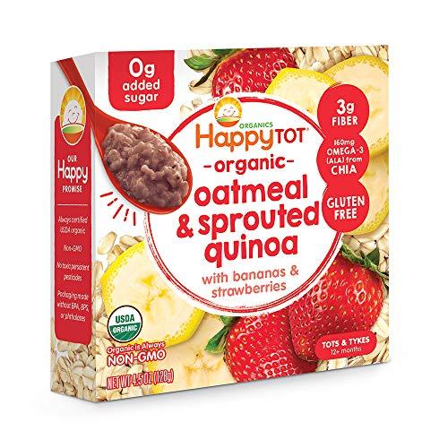 Happy Tot Super Morning Oatmeal Bowls Organic Toddler Food Bananas and Strawberries, 4.5 Ounce Bowl...
