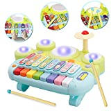 WISHTIME Xylophone Table Musical Baby Toys Multi-Function Toys Kids Drum Set, Discover & Play Piano Keyboard, Xylophone Set Electronic Learning Toys for Baby Infant Toddler Children Birthday Gifts