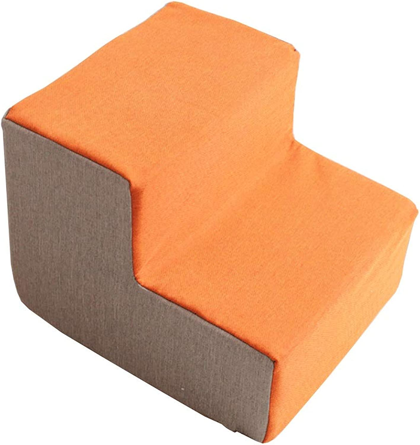 Pet steps Pet stairs orange Folding Pet Stairs, Dog Steps for Bed Sofa, Cat Climbing Frame with Washable Cover, 46×36×40cm
