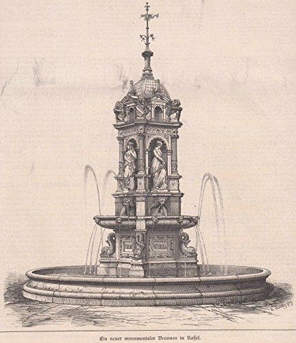 Kassel - Ein neuer monumentaler Brunnen (Vierflüssebrunnen) in Kassel. Ansicht des Brunnens. [Grafik]