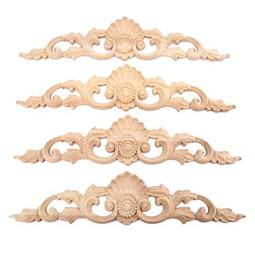 MUXSAM 4pcs 30 * 6.5cm Holz Skulptur Lang Corner Flourish Applique Möbel Tür Deko Europäischer Stil für Möbel Holzschnitzerei Applique Ornament Holz Möbel