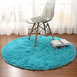 Noahas Luxury Round Rugs for Princess Castle Ultra Soft Play Tent Rug Circular Area Rugs for Kids Baby Bedroom Shaggy Circle Playhouse Carpet Nursery Rugs, 4 ft x 4 ft, Teal Blue