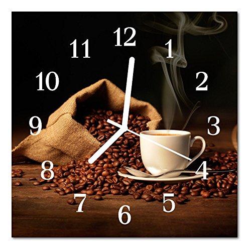 DekoGlas Glasuhr 'Kaffeebohnen braun' Uhr aus Acrylglas, eckig große Motiv Wanduhr 30x30 cm, lautlos für Wohnzimmer & Küche