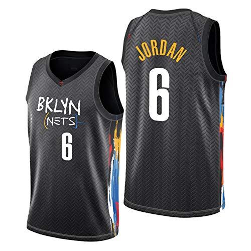 GLACX Ropa de Baloncesto para Hombre NBA Brooklyn Nets 6# Jordan clásico Nuevo Jersey Bordado, Unisex Fan de Baloncesto sin Mangas de Entrenamiento sin Mangas Chaleco,M