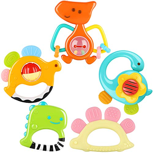 iPlay iLearn Baby Rattle Set Soothing Teether Infant Dinosaur Rattle Toys Hand Grab and Spin Shaker Teething Sensory Toy Newborn Shower Gifts for 3 6 9 12 Month Toddlers Boys Girls